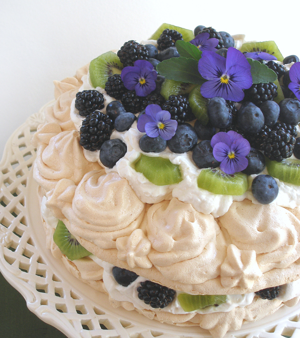 Meringue Cake With Whipped Cream And Fruit