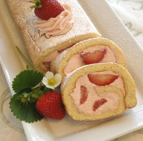 Roll Cake Design Recipe : Strawberries and Cream Roulade or Jelly Roll Cake ...