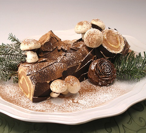 Christmas Yule Log Cake.Gluten Free Buche De Noel Or Christmas Yule Log Cake