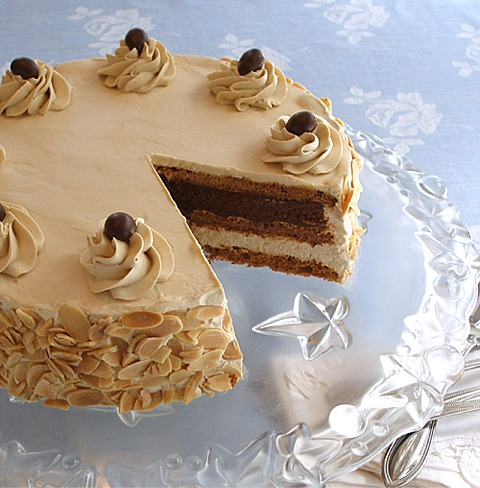 Hazelnut Coffee Meringue Cake